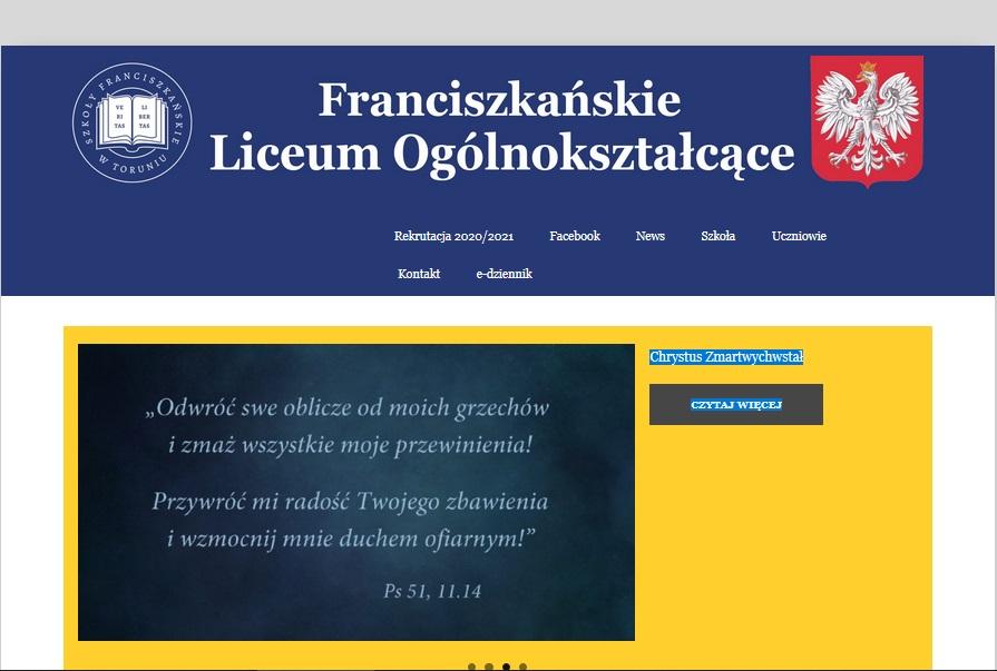 strona internetowa liceum franciszkanskie torun programista do wynajecia