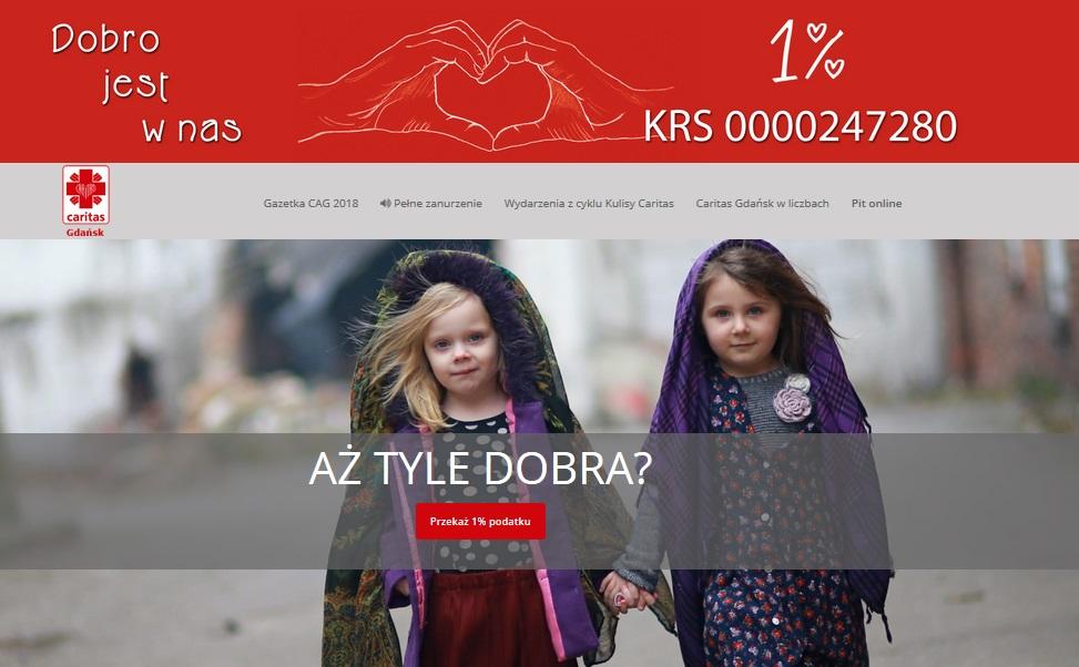 strona internetowa 1 procent caritas gdansk programista do wynajecia